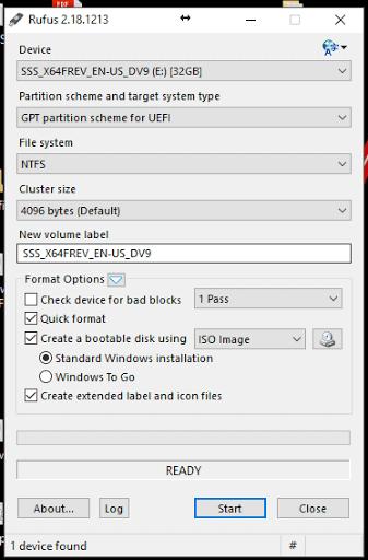 rufus uefi boot settings
